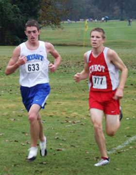 Jacob Clark, left, was Bryant's third finisher at the conference meet on Monday.