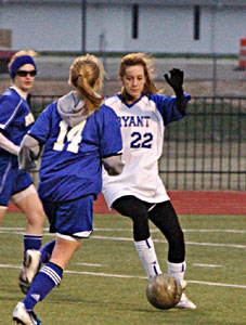Lindsai Arceneaux, 22, scored two goals in the Bryant Lady Hornets 3-1 win over Mountain Home.