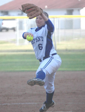 Peyton Jenkins delivers a pitch during Friday's game versus Sheridan. (Photo by Mark Hart)