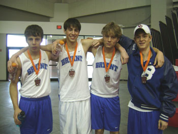 The Bryant 4x800 relay team, from left, Michael Smith, Brandon Mueller, Logan Howard and Colton Klaus.