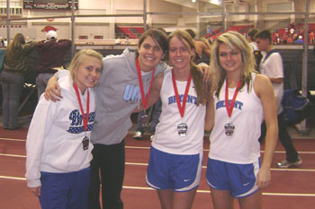 Bryant's 4x400 meter relay team is, from left, Morgan Seelinger, Jordan Chadwick, Ashley Petz, and Lacie Raney.