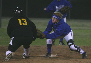 Bryant second baseman Lana Naumann tags out Little Rock Central's Nakia Lee.