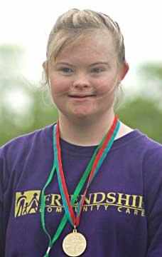 Blair Singleton won a gold medal in the softball throw.