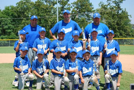 The Bryant 8-year-old All-Stars include, front from left, Sawyer Holt, Cade Dupree, Colby Greiner, Logan Catton, Ryan Lessenberry, and Tristan Day; second row, Logan Chambers, Nathan McFarland, Garrett Nguyen, Jake Cowell, Will McEntire, and Logan Grant; back row, Manager Michael Catton, Coaches Madison McEntire and Phillip Dupree