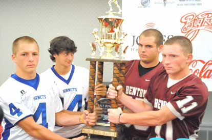 Bryant quarterback Jimi Easterling (14) is already keeping an eye on Benton defender Lee Richardson as the duo join teammates Logan Garland (4) and Drew McCurry (11) at the Salt Bowl press conference on Tuesday. (Photo by Kevin Nagle)