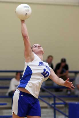 Kayla Davidson, shown here in a match from last season, had eight aces for Bryant in a jamboree in Benton on Thursday. (Photo by Rick Nation)