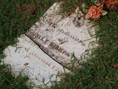 The gravestone for Paisley Kirkpatrick at Kirkpatrick Cemetery. (Photo by Lana Clifton)