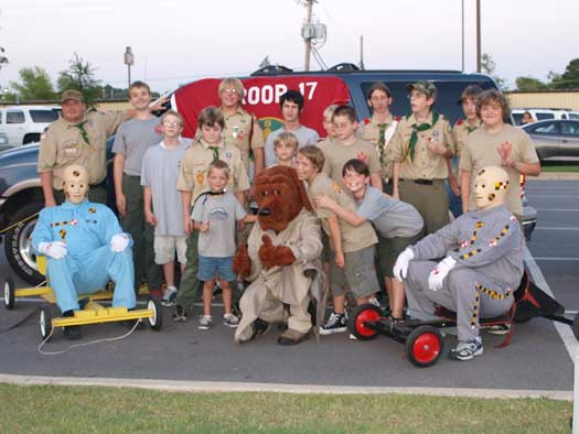 Scout Troop 17 joined in to help with National Night Out in Bryant. (Photo by Lana Clifton)