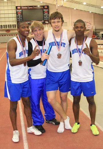 Bryant's winning 1600 meter relay team, from left, Kendrick Farr, Tyler Freshour, Stanley Oxner, and James Glasper. (Photo courtesy of Carla Thomas)