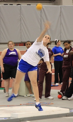 Kayla Davidson throws the shot. (Photo courtesy of Carla Thomas)