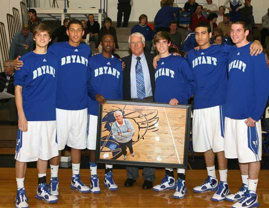 Coach Ron Marvel with Bryant Hornet seniors, from left, Connor Rayburn, Dontay Renuard, K-Ron Lairy, Brandon Parish, K.J. Hampton and Kendall Butzlaff. (Photo by Rick Nation)