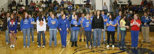 The Bryant High School swim team was honored for their dual District championships. (Photo by Rick Nation)