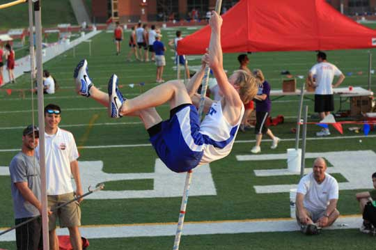 Michael Smith was third in the pole vault at Cabot Tuesday. (Photo by Carla Thomas)