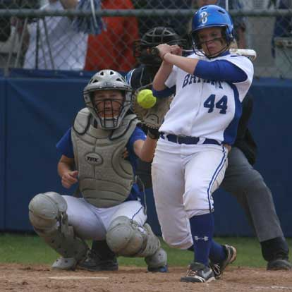 Peyton Jenkins pulls away from an inside pitch during Monday's game. (Photo by Rick Nation)