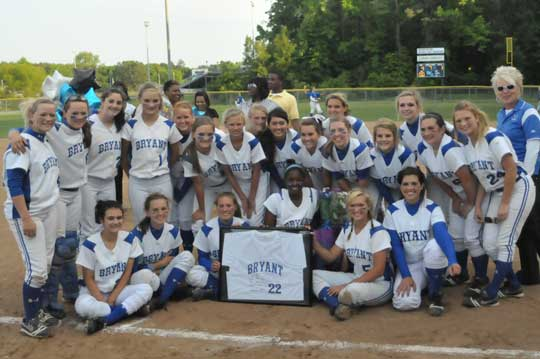 The Bryant Lady Hornets celebrated their conference championship and honored lone senior Shanika Johnson after their 4-1 win over North Little Rock on Monday. (Photo by Kevin Nagle)