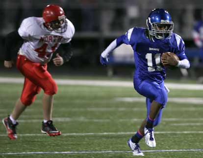 Mar'Kevius Nelson (11) leaves Cabot North defender Tristan Inman in his wake. (Photo by Rick Nation)
