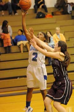 Jayla Anderson goes up for a shot. (Photo by Kevin Nagle)