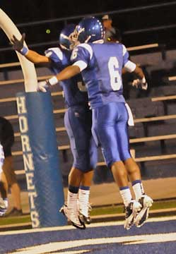 K.J. Hill and Brushawn Hunter celebrate a touchdown. (Photo by Kevin Nagle)