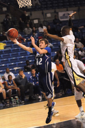 Bryant's Brantley Cozart (12) scoops a layup. (Photo by Kevin Nagle)
