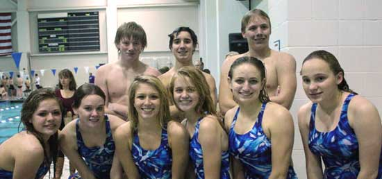 Bryant High Dive team includes, front from left, Jordan Tarvin, Kaitlin Howey, Morganne Gillespie, Tiffany Robinson, Alise Heavrin, Courtney Bulthuis; back from left, Lucas Reitenger, Justin Combs, Scott Mead. (Photo by DeDe Gillespie)