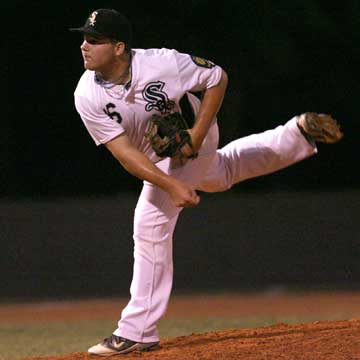 Landon Pickett threw seven solid innings on a bad ankle. (Photo by Rick Nation)