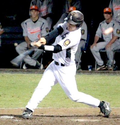 Hunter Mayall ties into one for his second homer in as many games. (Photo courtesy of Phil Pickett)