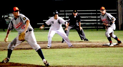 Landon Pickett leads off first as Kerwins pitcher Koda Glover delivers. (Photo courtesy of Phil Pickett)