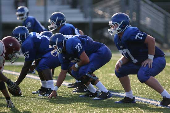 Offensive linemen, from left, Kordell Boykins (75), Blain Jackson (71) and Ian Shuttleworth (77). (Photo by Rick Nation)