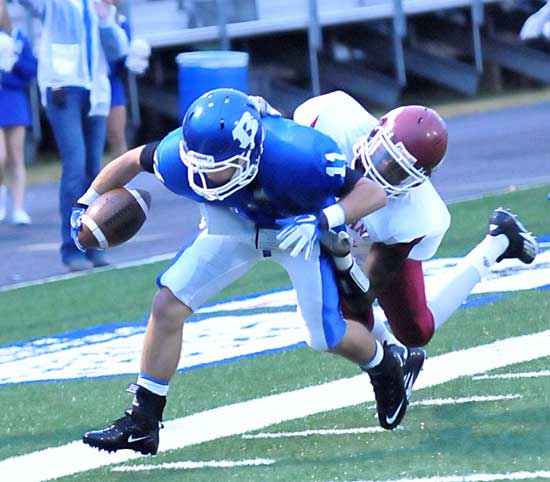 Hayden Daniel strains for extra yardage near the goal line. (Photo by Kevin Nagle)