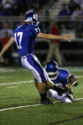 Jace Denker kicked a 36-yard field goal with Tyler Jamison holding. (Photo by Rick Nation)