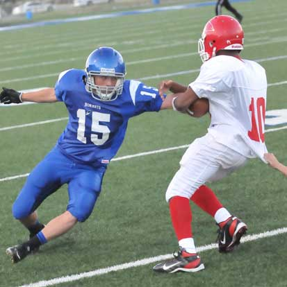 Clark Garland (15) for the defense. (Photo by Kevin Nagle)