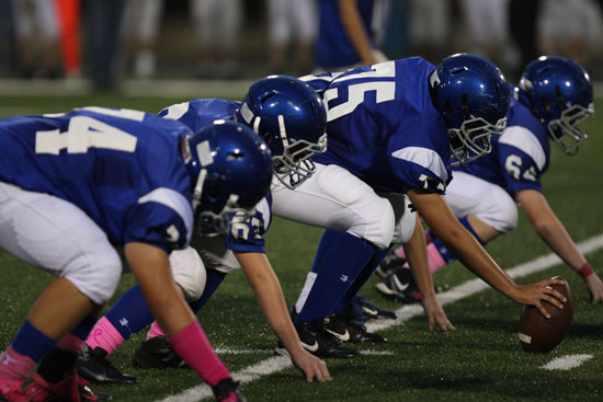 The Bryant Blue offensive line shined in their team's 21-12 win over Conway Blue. (Photo by Rick Nation)