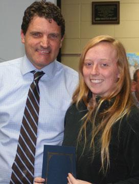 AP Scholar Jessica Ayliff and School Board president Scott Hart.