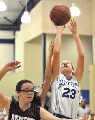 Kendal Rogers (23) led Bryant Blue in scoring with 8 points. (Photo by Kevin Nagle)