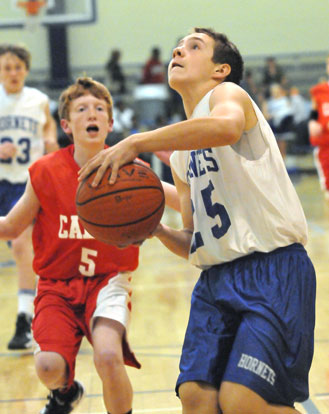 Tristan Calhoun drives to the basket. (Photo by Kevin Nagle)
