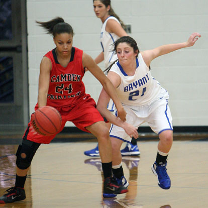 Bryant's Courtney Davidson defends against Camden Fairview's Taylor Henderson (24). (Photo by Rick Nation)