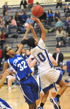 AnnMarie Keith goes up for a layup. (Photo by Kevin Nagle)