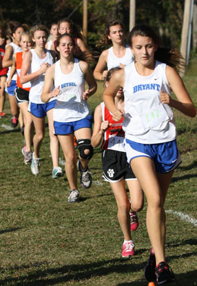 Bryant girls pack run during Saturday's meet. (Photo courtesy of Lloyd Wilson)