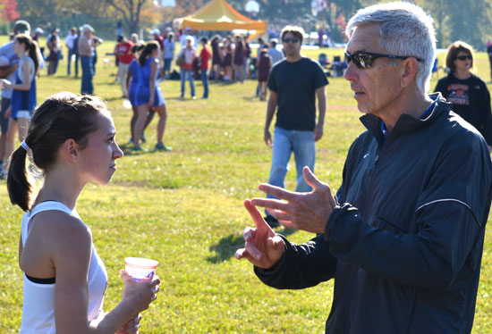 Sidney Wilson visits with Coach Danny Westbrook after winning the individual championship on Saturday. (Photo courtesy of Lloyd Wilson)