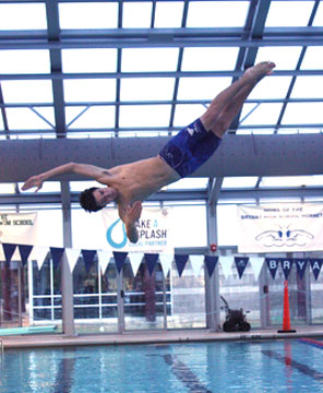 Justin Combs qualified for State with his diving performance Tuesday. (Photo courtesy of Julie Combs)