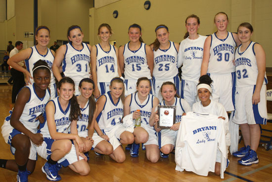 The Bryant Lady Hornets freshman team collected the runner-up trophy for the Bryant Invitational Thursday night. (Photo by Rick Nation)