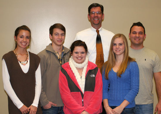 Pictured are, from left, Shelby Gartrell, Skyler McKissock, Elizabeth Morris, Bryant High School principal Jay Pickering, Kelsey Rivers and Ross Grant.