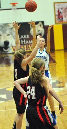 Kailey Nagle launches a 3-point shot over a Malvern defender. (Photo by Kevin Nagle)