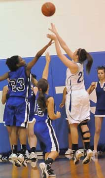 Aubree Allen, right, launches a shot. (Photo by Kevin Nagle)
