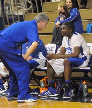 Coach Jim Pennington talks to J.C. Newborn. (Photo by Kevin Nagle)