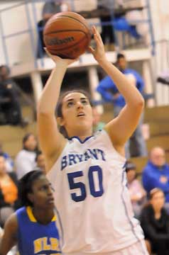 Bryant's Whitney Meyer (50) puts up a shot. (Photo by Kevin Nagle)