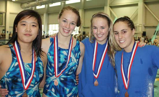 The Bryant Lady Hornets' relay team of, from left, Jinson Kang, Lindsey Butler, Amanda Butler and Emily Dabbs. (Photo courtesy of DeDe Gillespie)