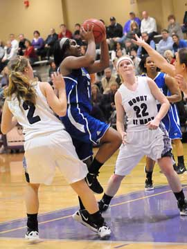 Bryant's Dezerea Duckworth slices through the Mount St. Mary defense. (Photo by Kevin Nagle)