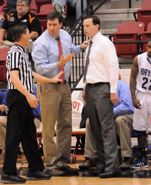Bryant coaches Steve Wilson and Mike Abrahamson discuss a call with one of the officials. (Photo by Kevin Nagle)