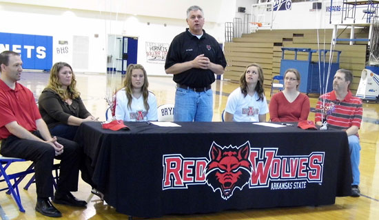 From left, Jason and Stephanie Lester, Brittney Ball, ASU coach Kinley Greenwood, Ashley Chaloner with Lori and Sam Chaloner.